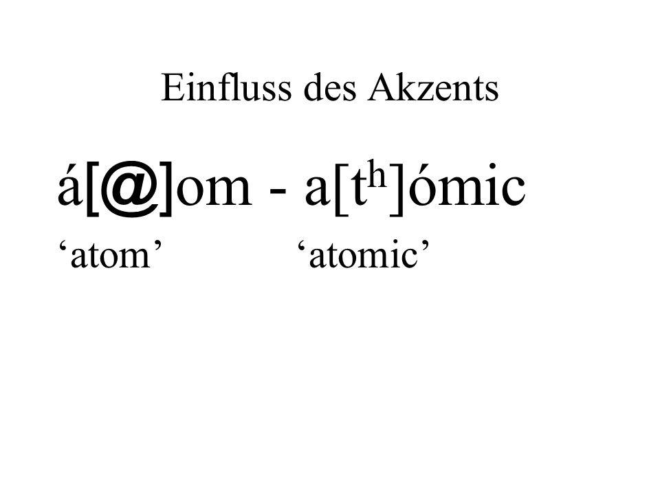 Einfluss des Akzents á[@]om - a[th]ómic 'atom' 'atomic'